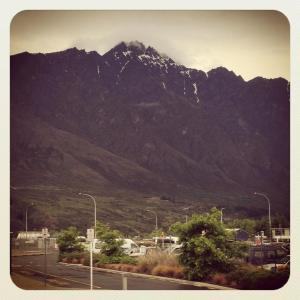 Mountains encircling the Queenstown Airport. Ruggedly beautiful.