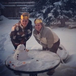 Shoshanna and I with what turned into a Snowduck rather than a Snowman