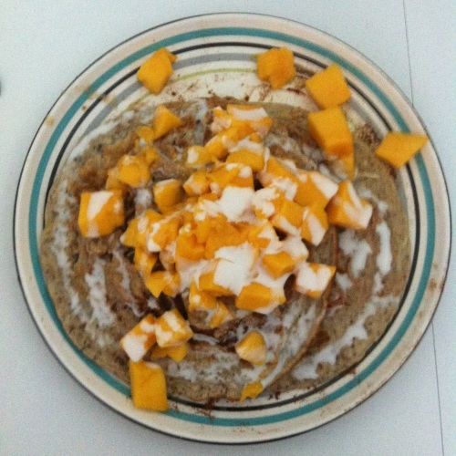 Coconut Flour Pancakes with Mango and Coconut Milk