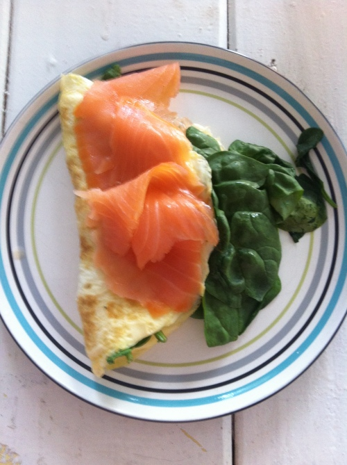Spinach Omlette with Smoked Salmon